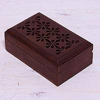Wood decorative box, 'Floral Subtlety' - Handcrafted Floral Wood Decorative Box from India