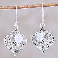 Rainbow moonstone dangle earrings, 'Turret Garden' - Rainbow Moonstone Sterling Silver Vine Motif Dangle Earrings
