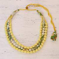Cotton beaded necklace, 'Lemon Drops' - Indian Handcrafted Necklace of Recycled Cotton Wrapped Beads