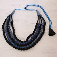 Multi-strand cotton wrapped beaded necklace, 'Bengal Blue' - Five Strand Cotton Wrapped Beaded Necklace in Black and Blue