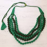 Multi-strand cotton wrapped beaded necklace, 'Joyful Green' - Green Multi-strand Recycled Cotton Wrapped Beaded Necklace