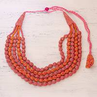 Multi-strand cotton wrapped beaded necklace, 'Rosy Dream' - Five Strand Recycled Cotton Wrapped Beaded Necklace in Pink