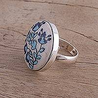 Ceramic cocktail ring, 'Blossom Dance' - Floral Sterling Silver and Ceramic Cocktail Ring from India