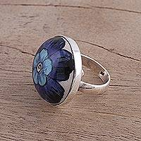 Ceramic cocktail ring, 'Glorious Bloom' - Blue Flower Sterling Silver and Ceramic Ring from India