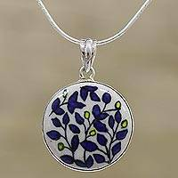Sterling silver pendant necklace, 'Blooming Beauty' - Hand-Painted Floral Pendant Necklace from India