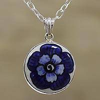 Ceramic pendant necklace, 'Glorious Bloom' - Floral Sterling Silver and Ceramic Necklace from India