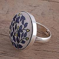 Sterling silver cocktail ring, 'Blooming Beauty' - Hand-Painted Floral Sterling Silver Cocktail Ring from India
