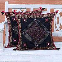 Cotton cushion covers, 'Midnight Dazzle' (pair) - Two Embroidered Floral Cotton Cushion Covers from India