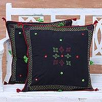 Cotton cushion covers, 'Charm of Midnight' (pair) - Pair of Floral Embroidered Cotton Cushion Covers from India