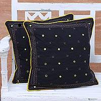 Cotton cushion covers, 'Shimmering Night' (pair) - Two Embroidered Cotton Cushion Covers in Black and Marigold
