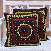 Cotton cushion covers, 'Sun Ray Harmony' (pair) - Two Colorful Embroidered Cotton Cushion Covers from India