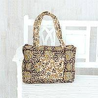 Cotton shoulder bag, 'Majestic Blossoms' - Multi-Colored Floral and Paisley Cotton Shoulder Handbag