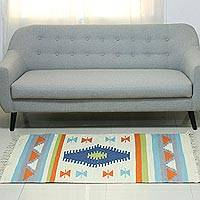 Wool area rug, 'Delightful Geometry' (3x5) - Geometric Multicolored Wool Area Rug (3x5) from India