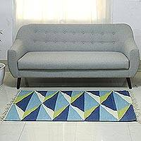 Wool area rug, 'Entrancing Pyramids' (3x5) - Triangle Motif Handwoven Wool Area Rug (3x5) from India