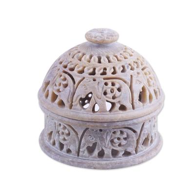 Soapstone decorative jar, 'Elephant Alliance' - Elephant-Themed Soapstone Decorative Jar from India