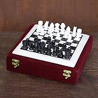 Marble chess set, 'Royal Leisure' - Handcrafted Black and White Marble Chess Set from India
