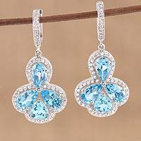 Blue topaz dangle earrings, 'Blue Burst' - Teardrop Blue Topaz Dangle Earrings from India