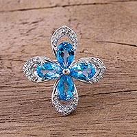 Rhodium plated blue topaz cocktail ring, 'Shimmering Blue Flower' - Rhodium Plated Blue Topaz Cocktail Ring from India