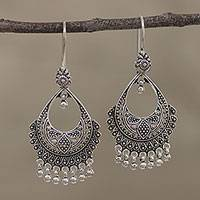 Sterling silver chandelier earrings, 'Decadence' - Artisan Sterling Silver Chandelier Earrings from India