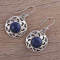 Lapis lazuli dangle earrings, 'Floral Discs' - Lapis Lazuli and Silver Floral Dangle Earrings from India