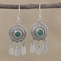 Onyx chandelier earrings, 'Dancing in the Wind' - Green Onyx and Silver Chandelier Earrings from India
