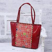 Batik leather tote, 'Flower Dance' - Handcrafted Floral Batik Leather Tote in Crimson from India