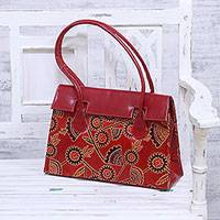 Batik leather handbag, 'Flower Fall' - Floral Batik Leather Baguette in Crimson from India