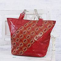 Batik leather tote, 'Retro Radiance' - Handcrafted Batik Leather Tote in Crimson from India