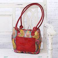 Batik leather shoulder bag, 'Paisley Fantasy' - Handmade Paisley Motif Batik Leather Shoulder Bag from India