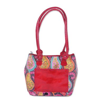 Novica Batik leather travel bag, Paisley Fantasy
