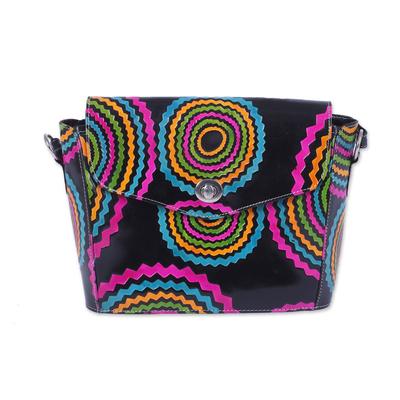 Handcrafted Batik Leather Sling Handbag from India