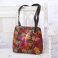 Batik leather sling, 'Floral Canopy' - Handmade Floral Batik Leather Sling Handbag from India