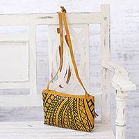 Batik leather sling, 'Goldenrod Glory' - Batik Leather Sling Baguette in Goldenrod from India