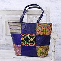 Batik leather tote, 'Lapis Worlds' - Handcrafted Batik Leather Tote in Lapis from India