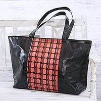 Batik leather tote, 'Retro Magic' - Handmade Batik Leather Tote with Retro Motifs from India