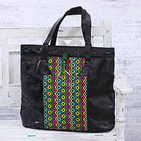 Batik leather tote, 'Bubble Blast' - Handcrafted Colorful Batik Leather Tote from India