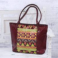 Batik leather tote, 'Claret Grandeur' - Geometric Batik Leather Tote in Claret from India