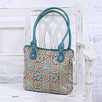 Batik leather tote, 'Turquoise Flowers' - Floral Batik Leather Tote in Turquoise from India