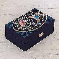 Embellished jewelry box, 'Chirping Lovers' - Bird-Themed Beaded Jewelry Box in Indigo from India