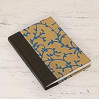 Leather accented journal, 'Leafy Vines' - Leather Accented Journal with Handmade Paper from India