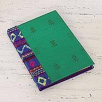 Leather journal, 'Emerald Delight' - Fabric Accented Leather Journal in Emerald from India