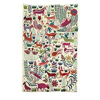 Wool area rug, 'The Jungle World I' (5x8) - Chain-Stitched Animal-Themed Wool Area Rug (5x8) from India