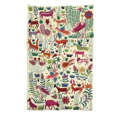 Chain Stitched Animal Themed Wool Area Rug 5x8 From