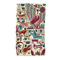 Wool chain stitch area rug, 'The Jungle World II' (3x5) - Chain-Stitched Animal-Themed Wool Area Rug (3x5) from India