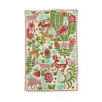 Wool chain stitch area rug, 'The Jungle World III' - Chain-Stitched Animal-Themed Wool Area Rug from India