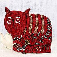 Wool tea cozy, 'Delightful Cat in Red' - Cat-Shaped Aari Embroidered Wool Tea Cozy in Red from India