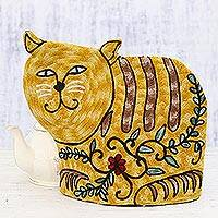 Wool tea cozy, 'Delightful Cat in Yellow' - Cat-Shaped Embroidered Wool Tea Cozy in Yellow from India