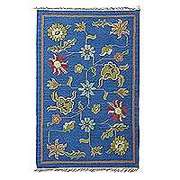 Wool dhurrie rug, 'Blue Floral Field' (4x6) - Floral Rug on Blue Ground Handcrafted in Wool (4x6)