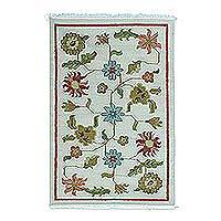 Wool dhurrie rug, 'Floral Field' - Multicolored Floral Wool Dhurrie Area Rug from India