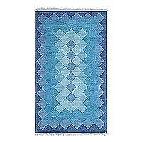 Wool dhurrie rug, 'Geometric Illusion in Blue' - Hand Loomed Blue Dhurrie Area Rug With Geometric Motif